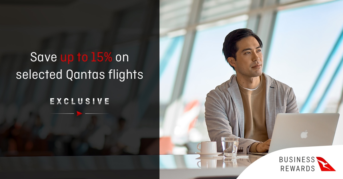 Qantas Business Rewards, save up to 15% on selected flights